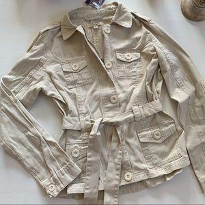 Cream belted utility jacket
